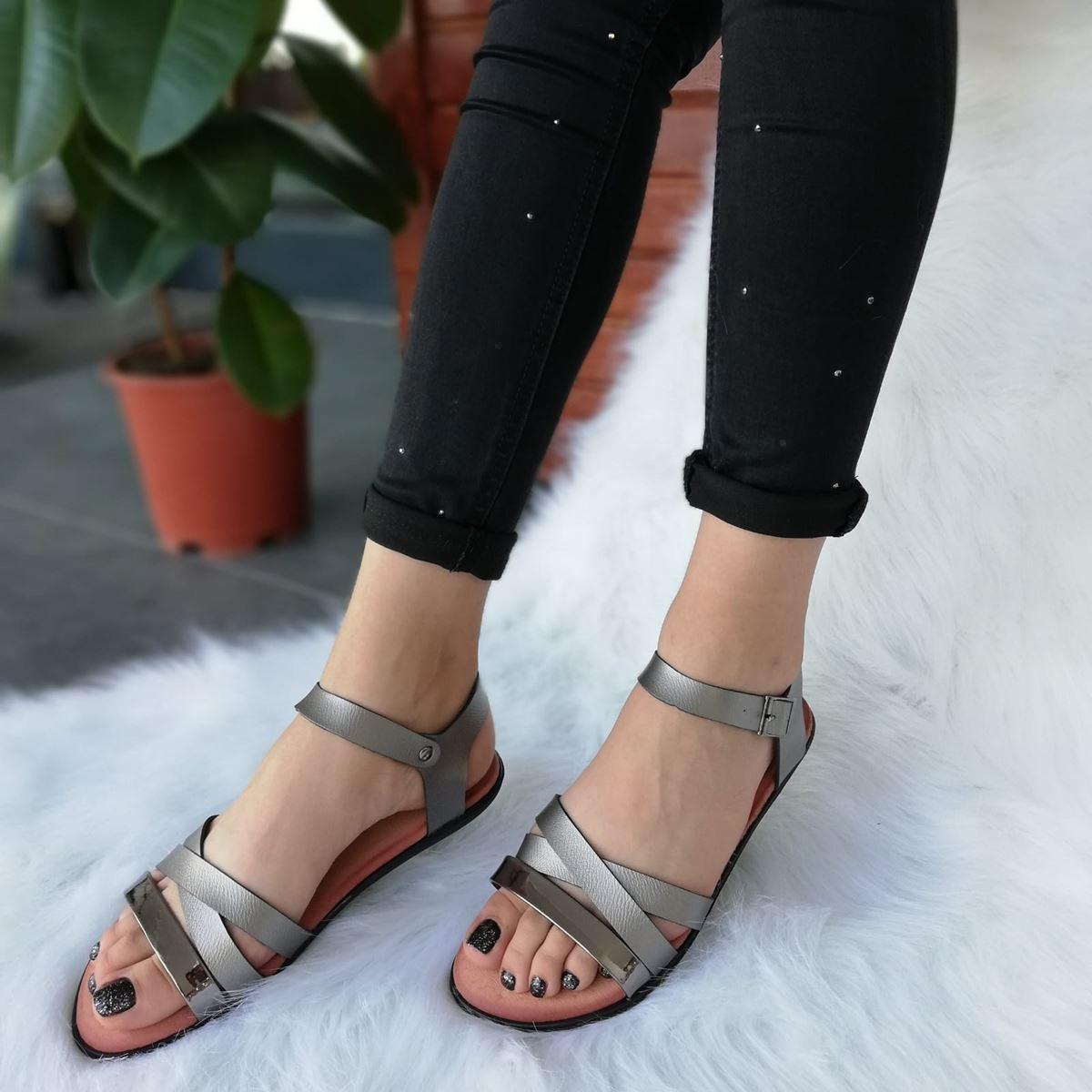 Antrasit Üç Bantlı Sandalet SND089