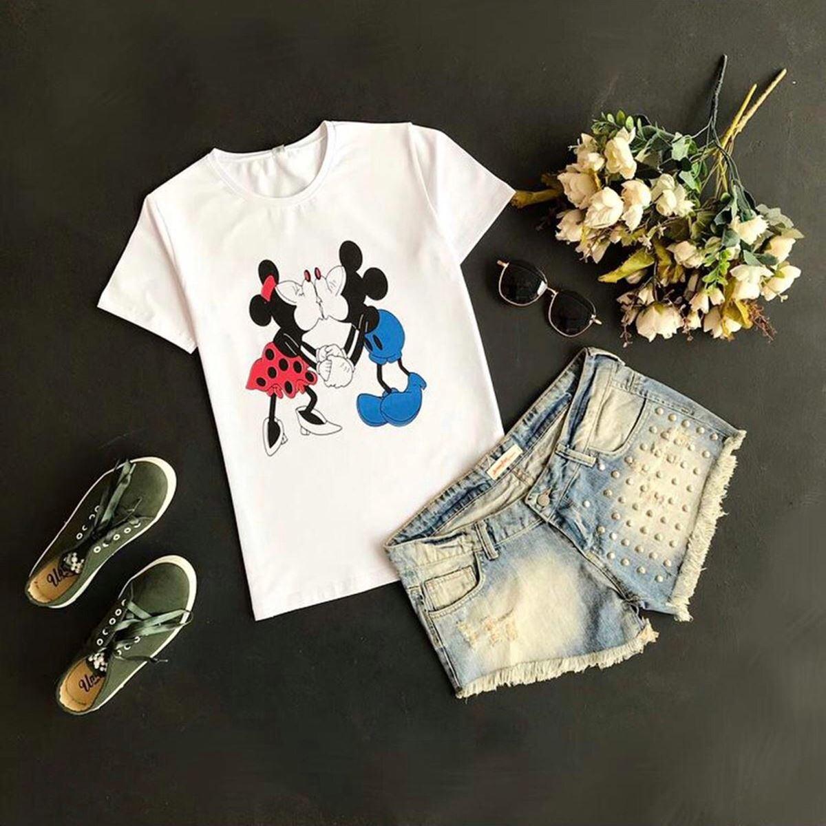 Mickey & Minnie Baskılı T-shirt TSH066
