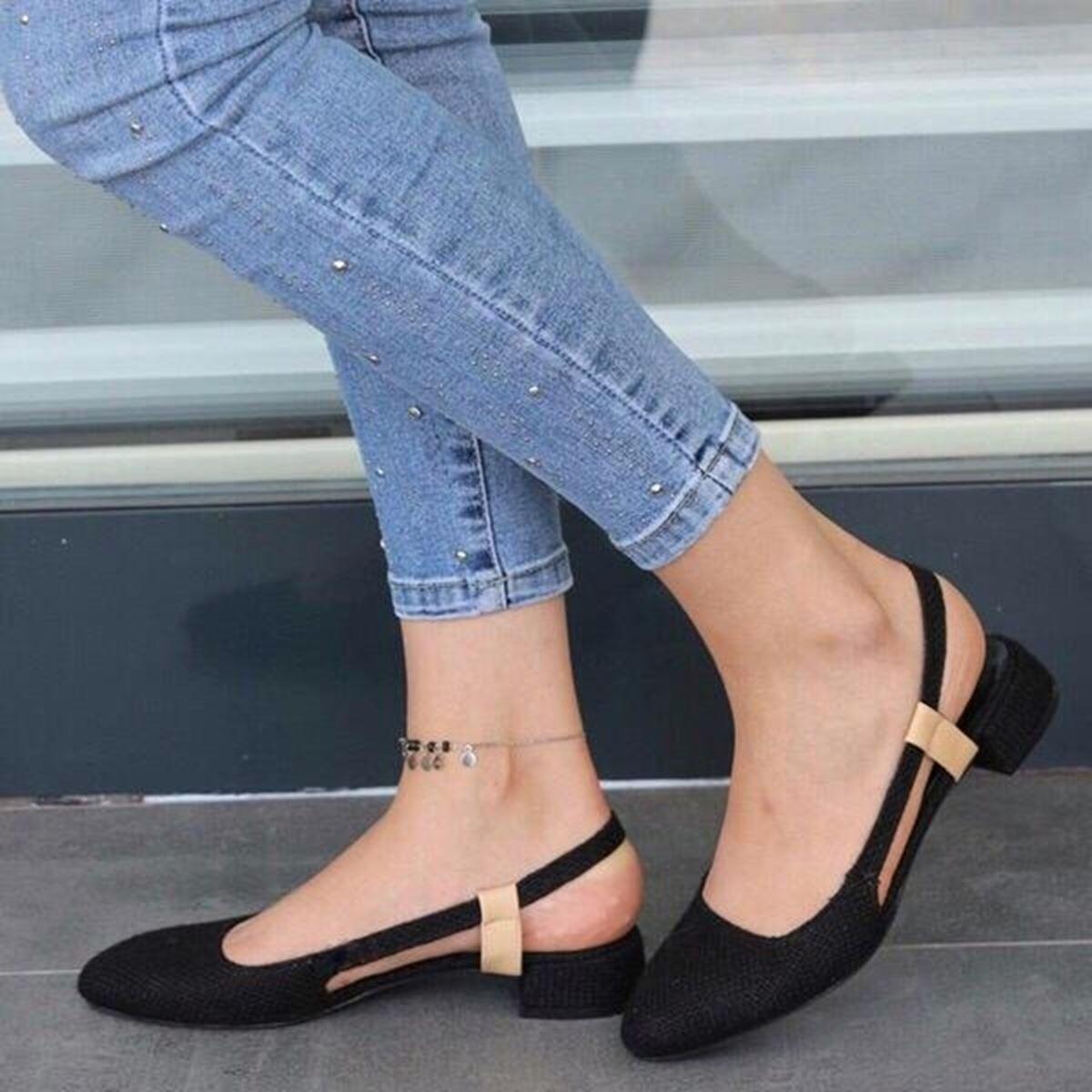 Siyah Hasır Lastikli Sandalet SND103