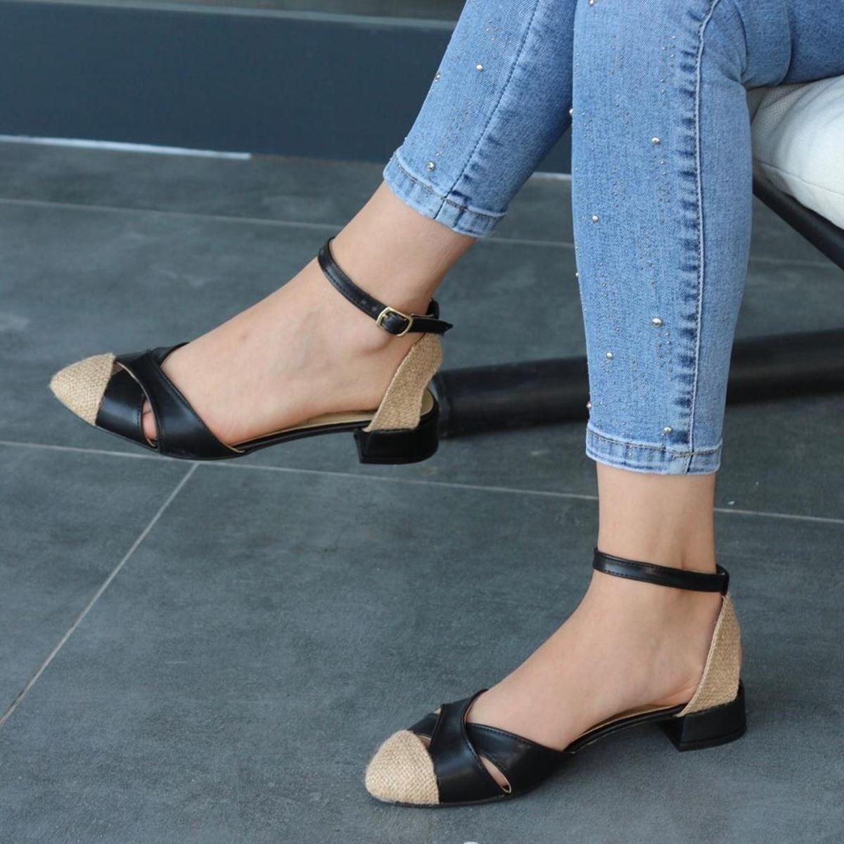 Siyah Hasır Sandalet SND099