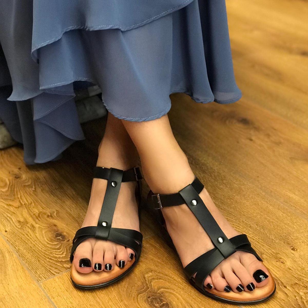 Siyah Bantlı Sandalet SND064