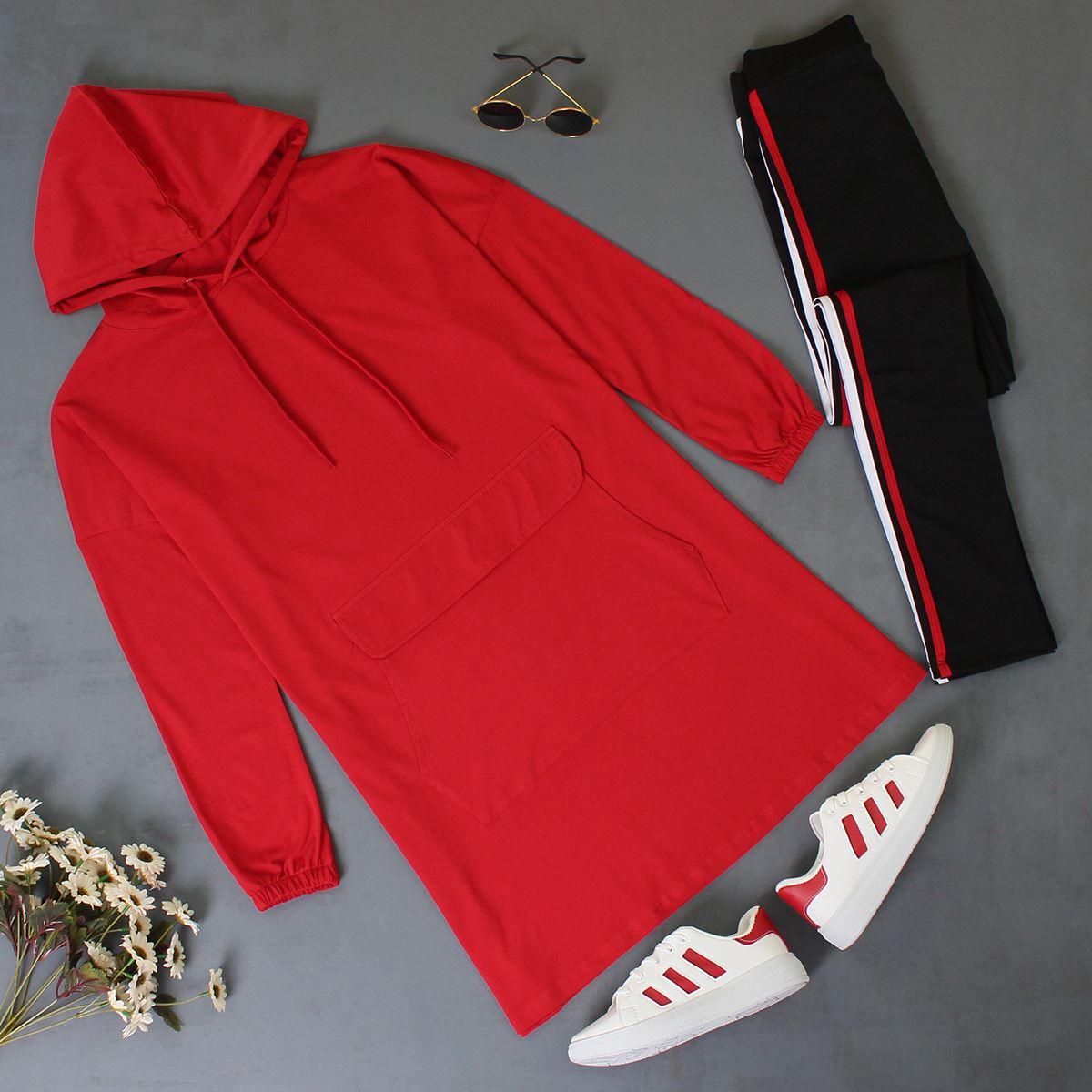 Kırmızı Kapşonlu Sweat Tunik SWT030