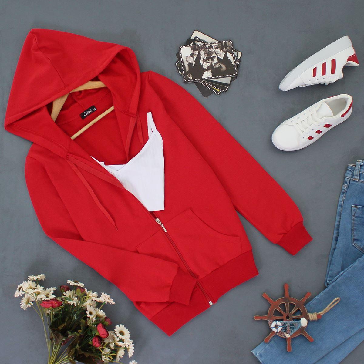 Kırmızı Fermuarlı Ceket CKT036