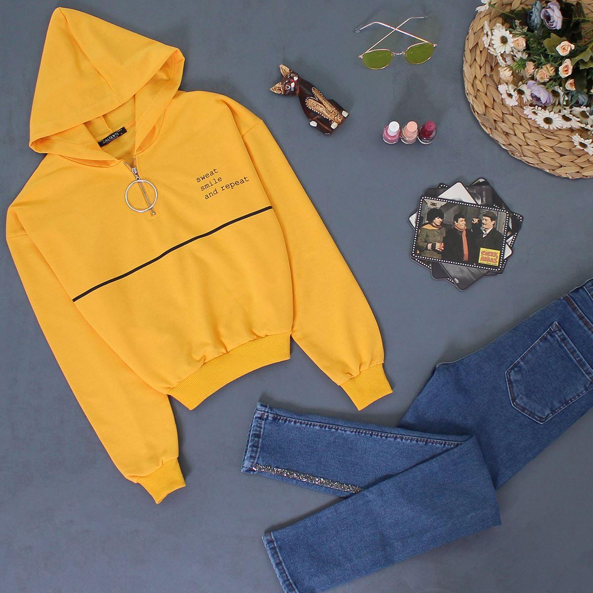 Sarı Baskılı Crop Sweat SWT033