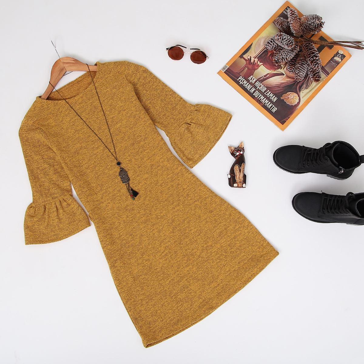 Kolları Volanlı Hardal Elbise ELB007