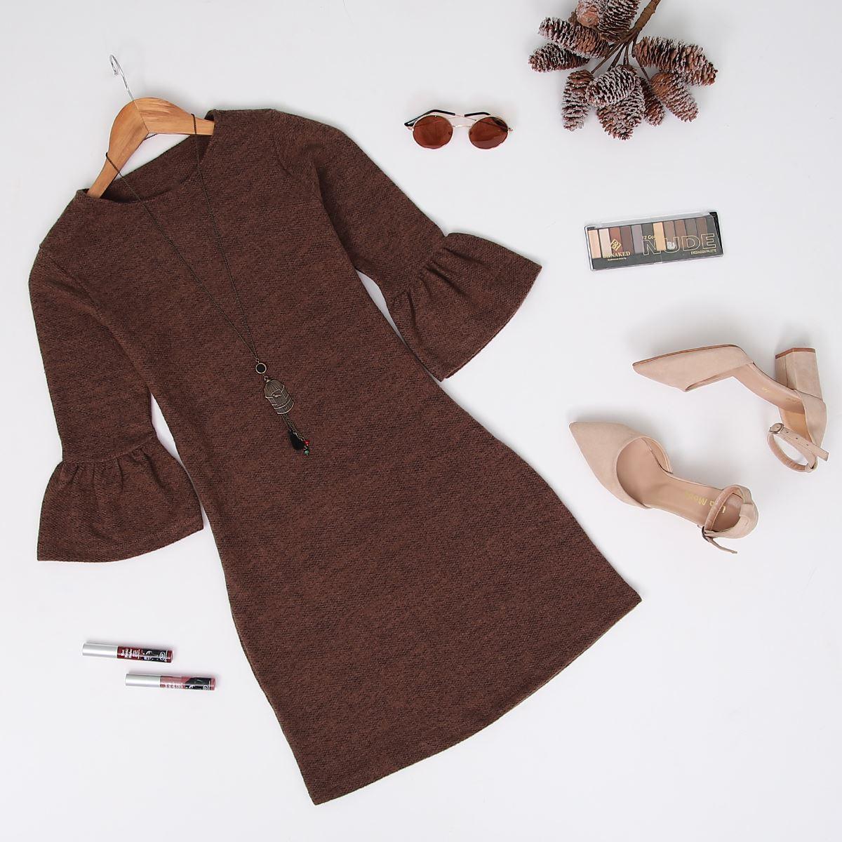 Kolları Volanlı Kahve Elbise ELB008