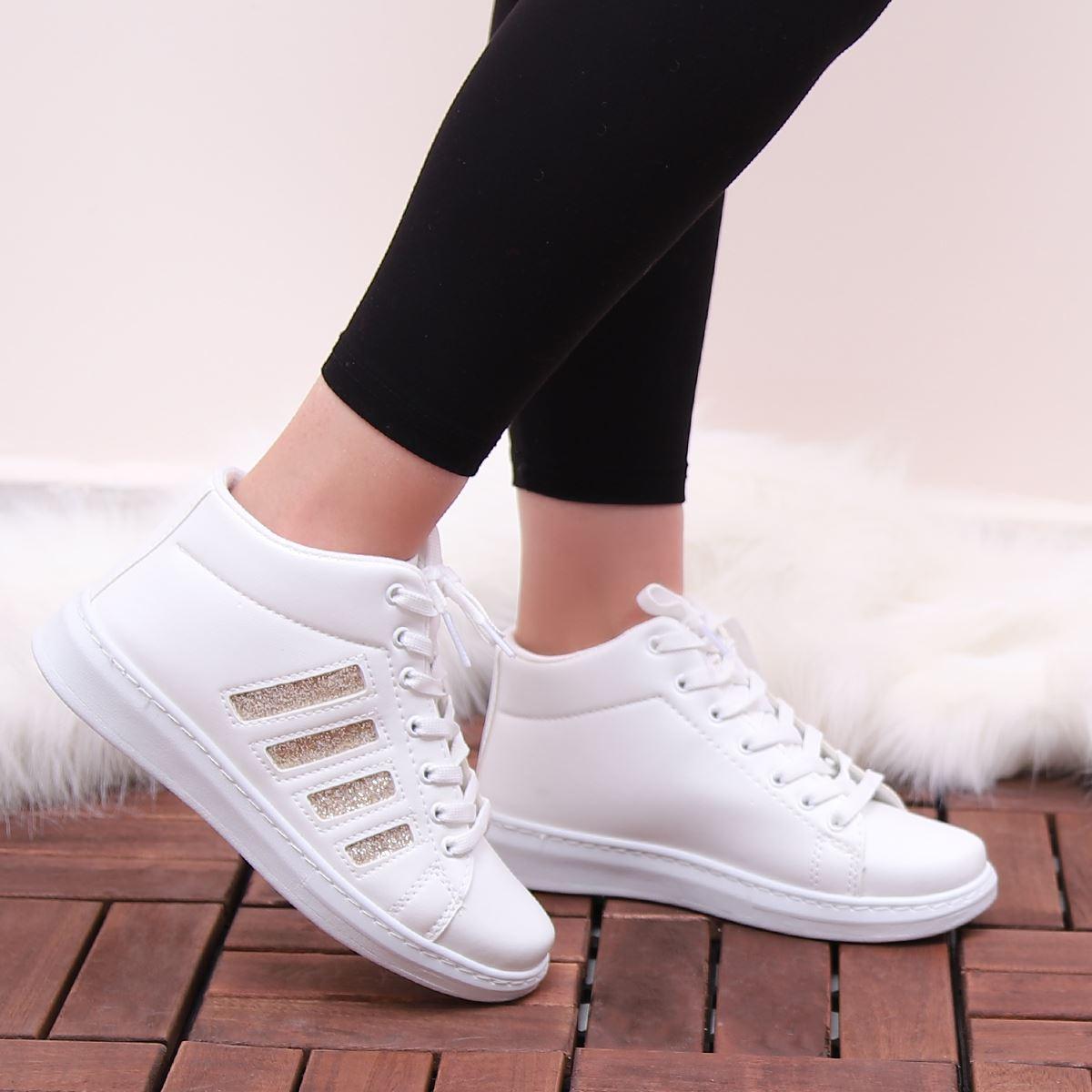 Beyaz Rose Gold Şeritli Spor Ayakkabı AYK147