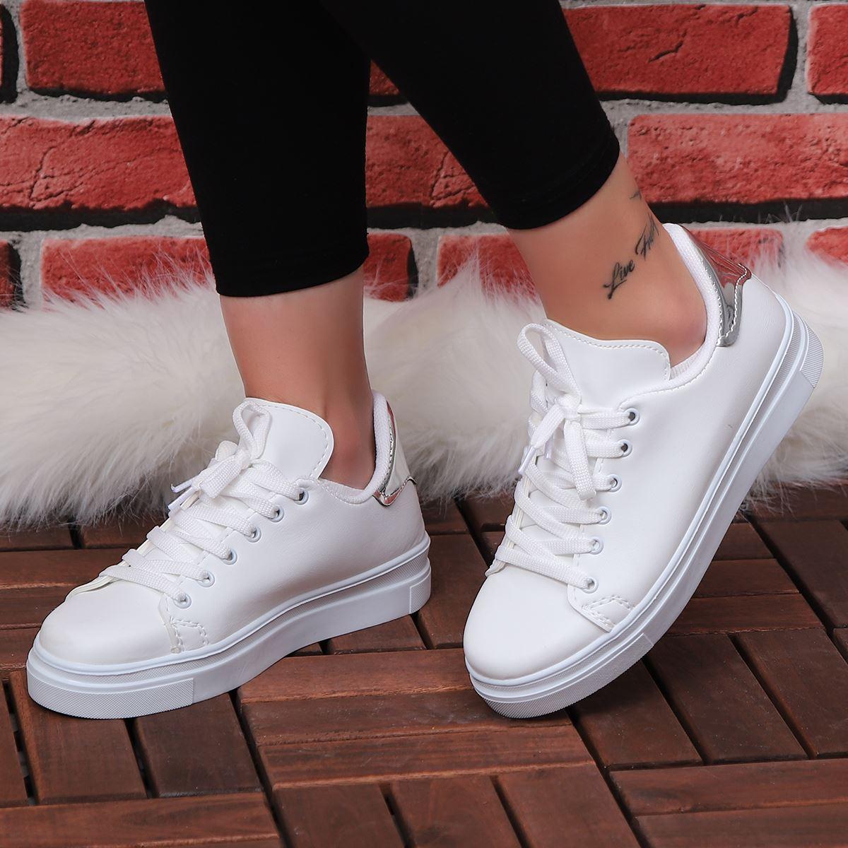 Beyaz Arkası Gümüş Spor Ayakkabı AYK015