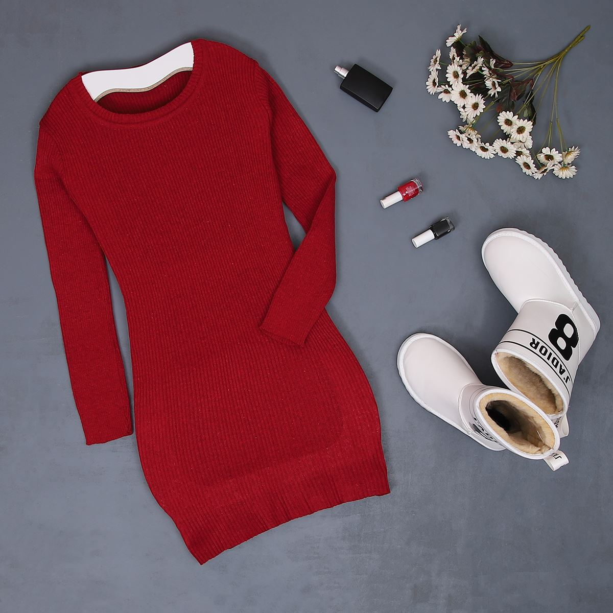 Kırmızı Triko Tunik KZK142