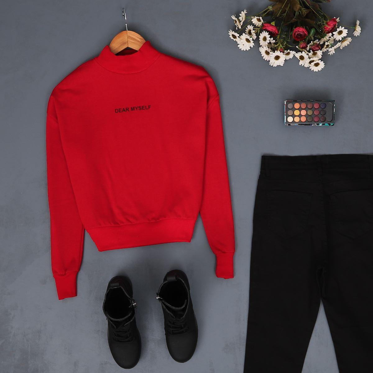 Kırmızı Baskılı Crop Sweat SWT063