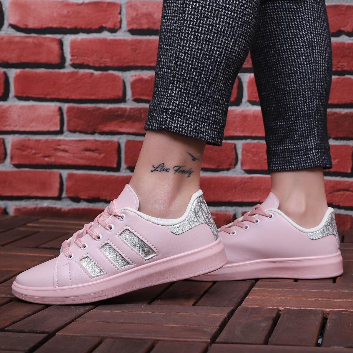 Pudra Gümüş Şeritli Spor Ayakkabı AYK080