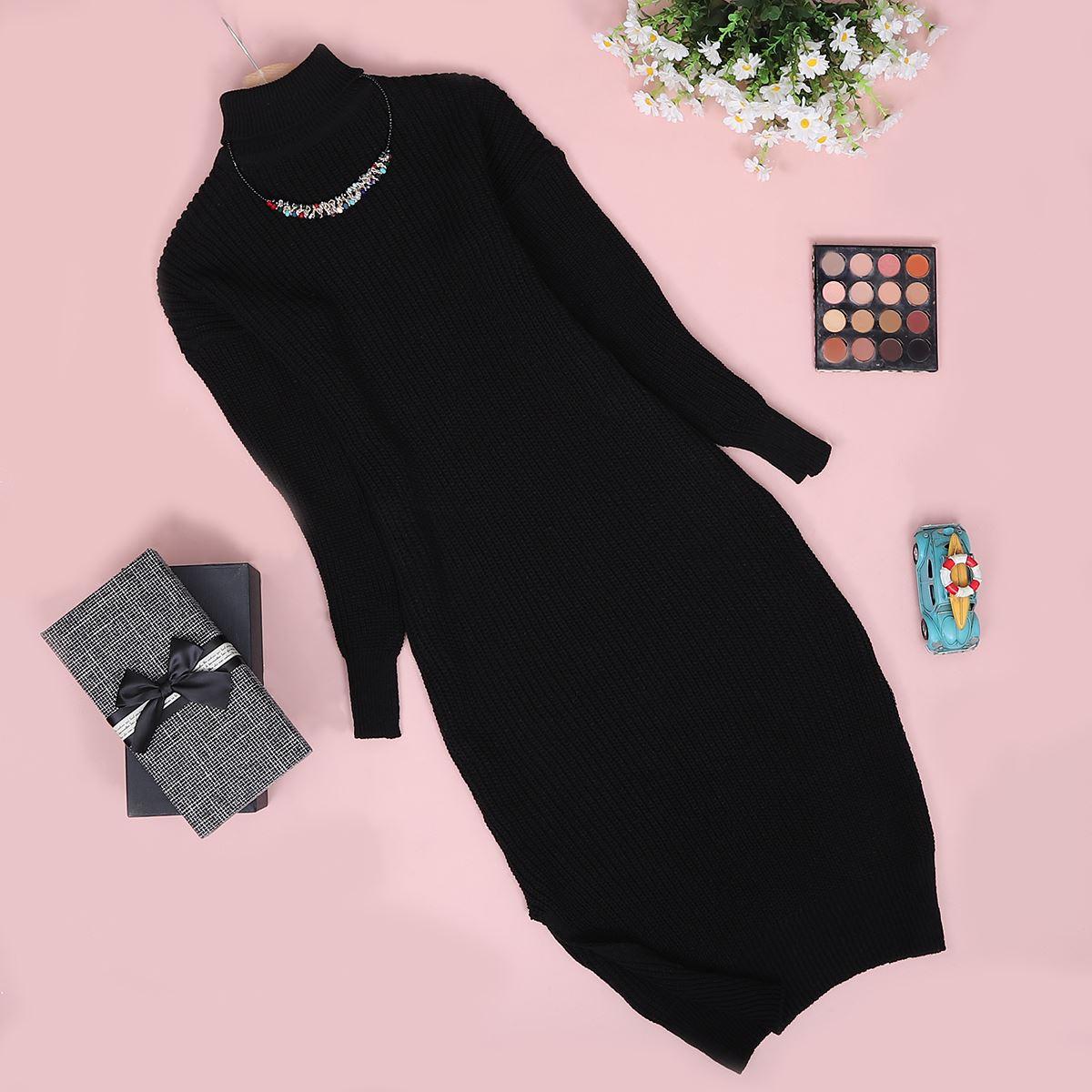 Siyah Triko Elbise ELB011