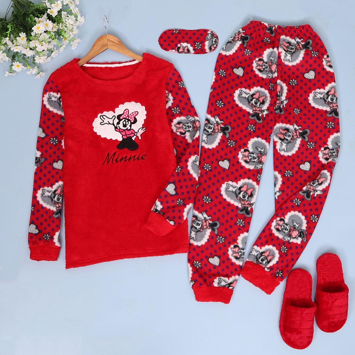 Kırmızı Peluş Uyku Bantlı Takım PJM159