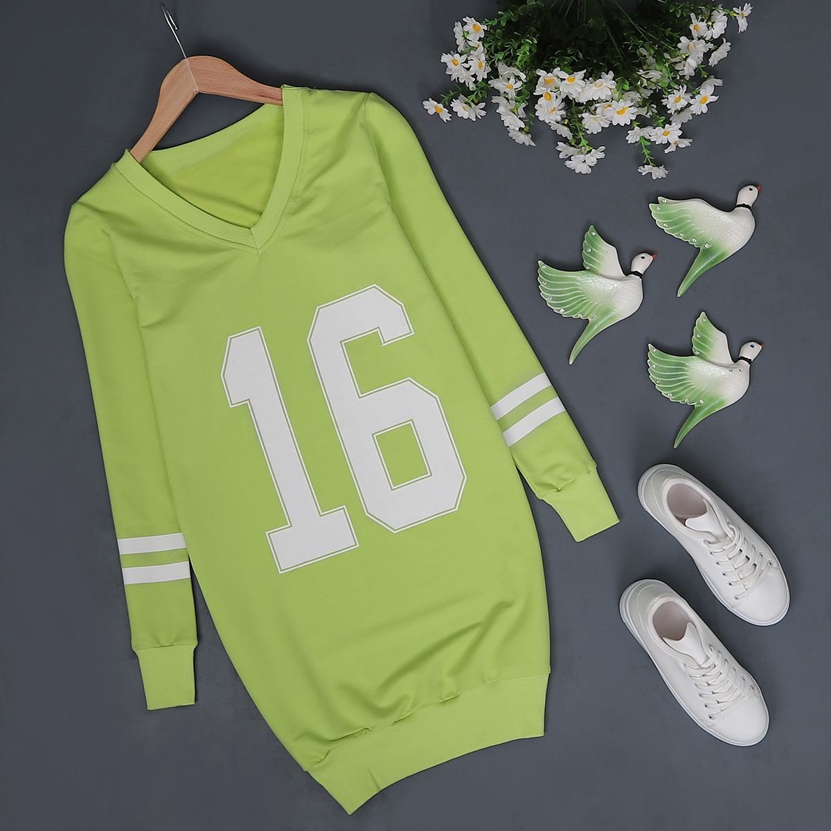 Fıstık Yeşil Baskılı Sweat SWT088