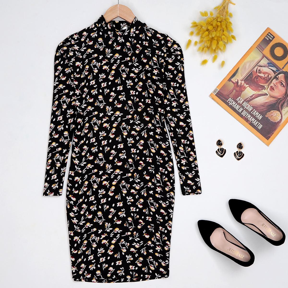 Siyah Çicek Desenli Elbise ELB026