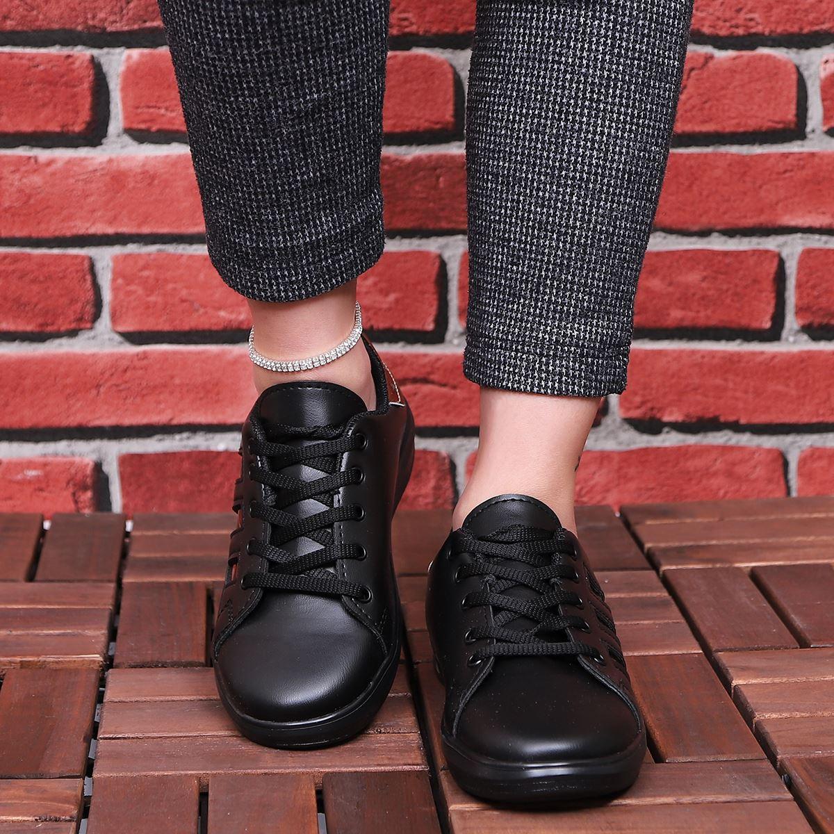 Siyah Bronz Şeritli Spor Ayakkabı AYK177