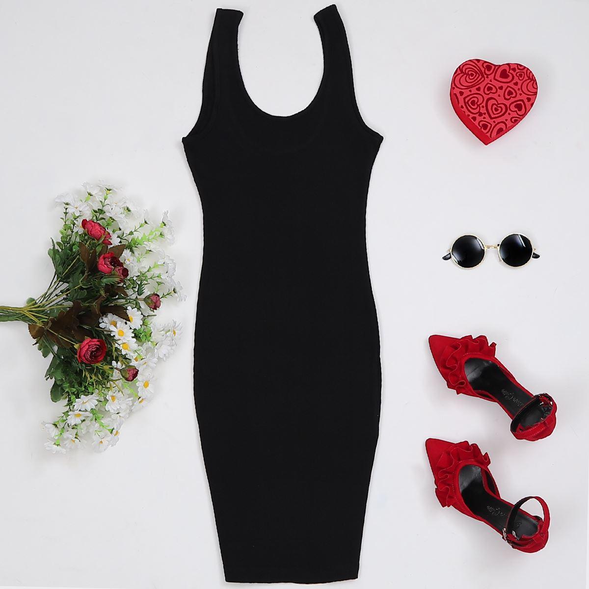 Kalın Askılı Elbise Siyah ELB060