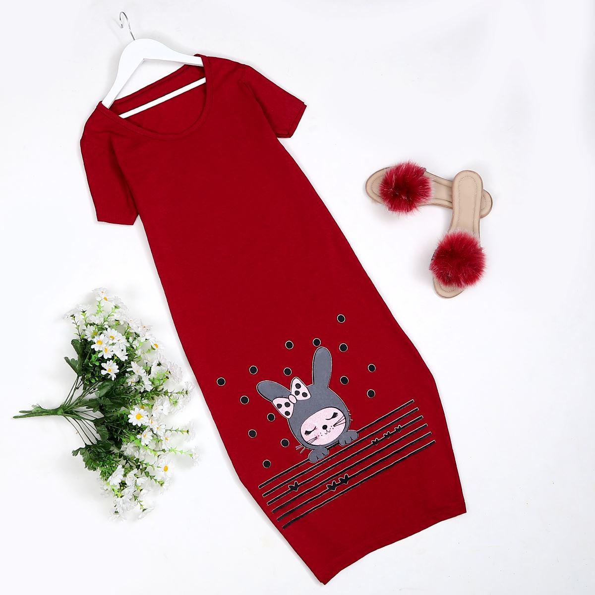 Rabbit  Kırmızı Ev Elbisesi  Pjm474