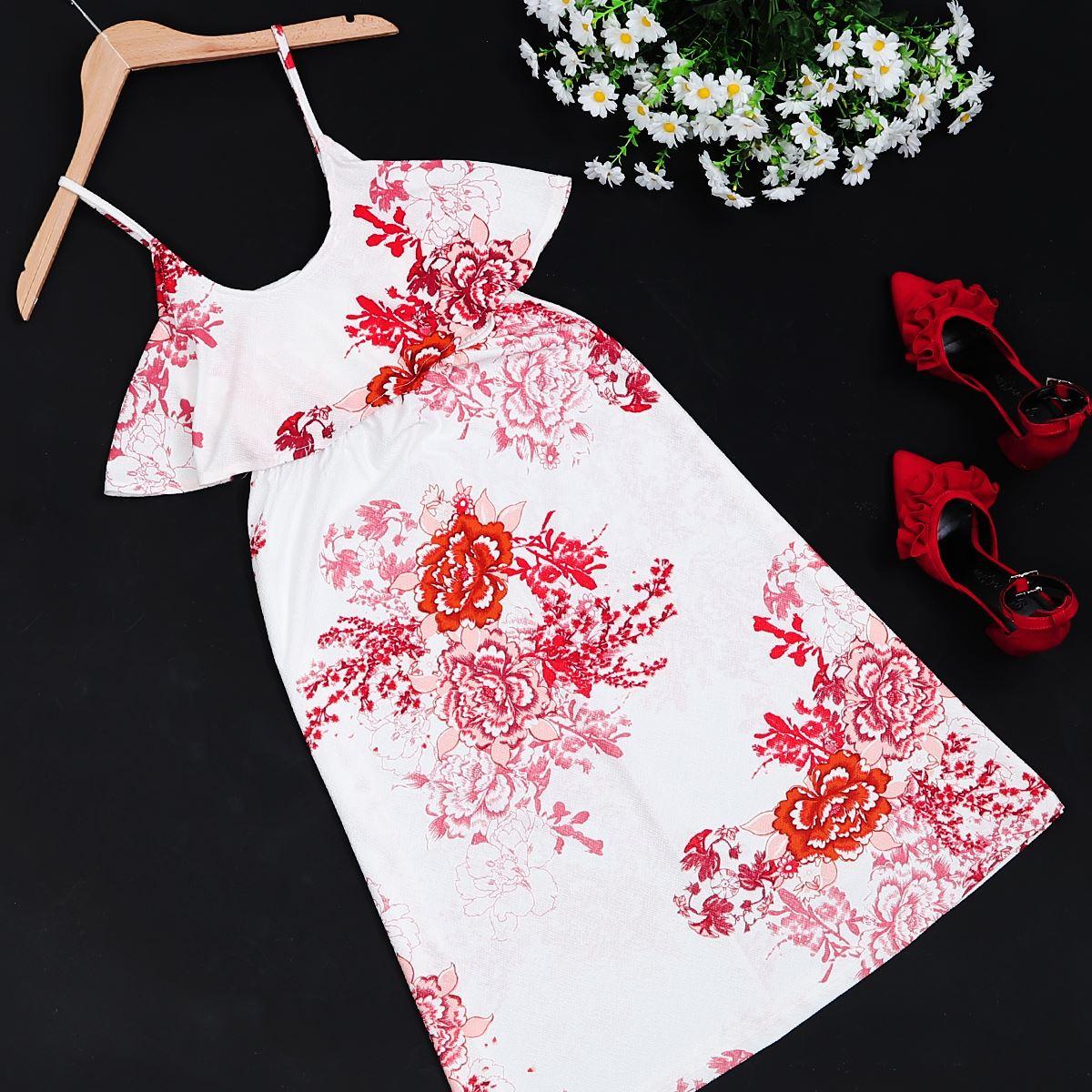Desenli Askılı Elbise ELB80