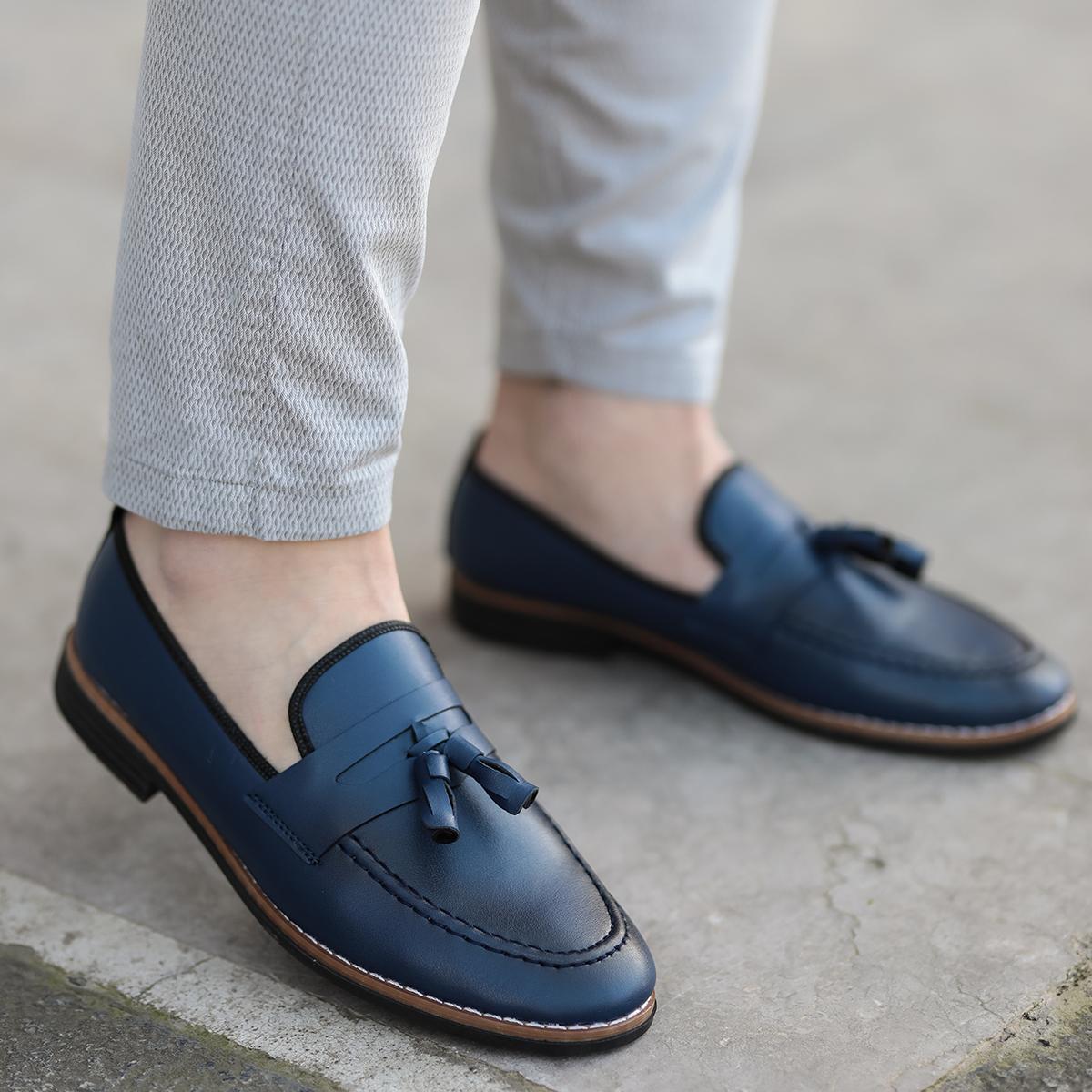 Corcik Lacivert Deri Günlük Ayakkabı AYK189