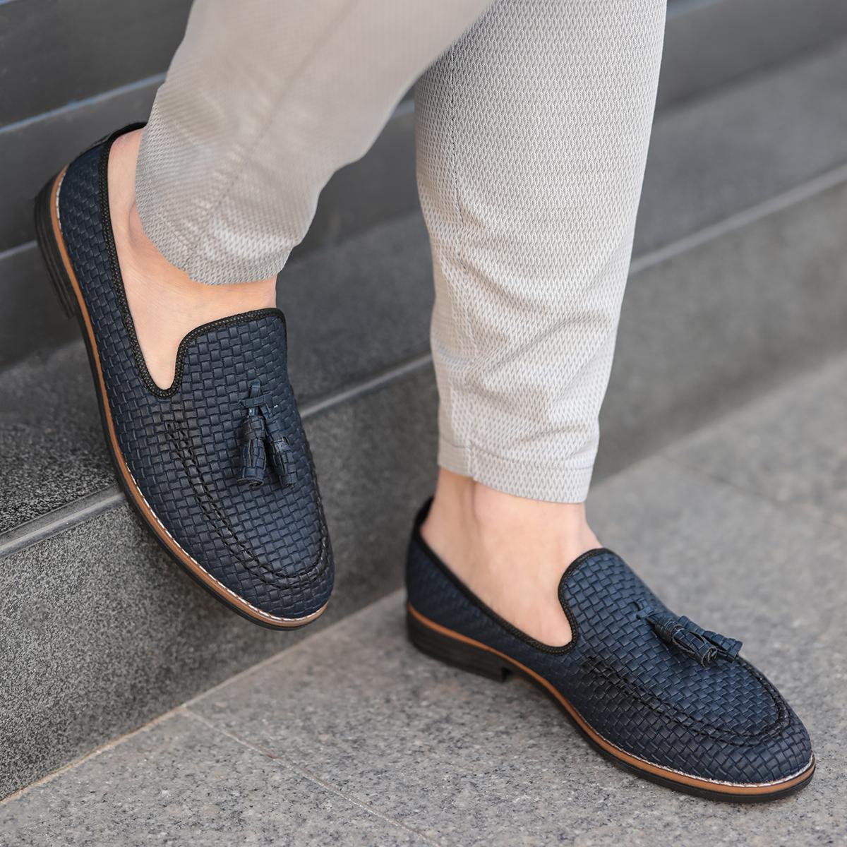 Corcik Lacivert Deri Günlük Ayakkabı AYK192