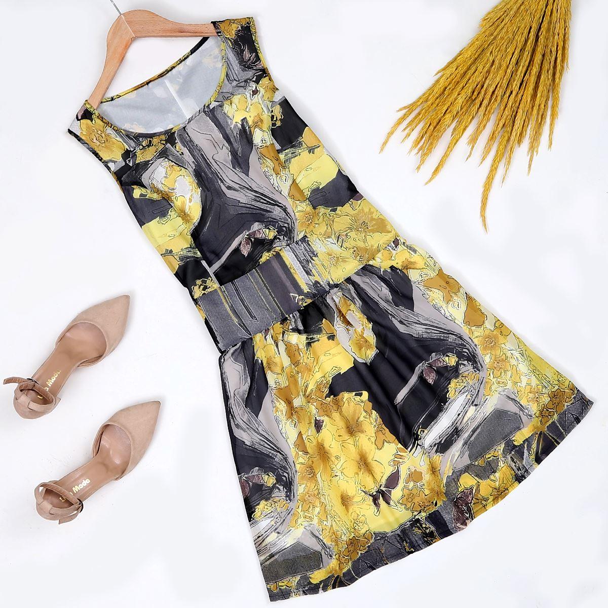 Sarı Desenli Elbise ELB166