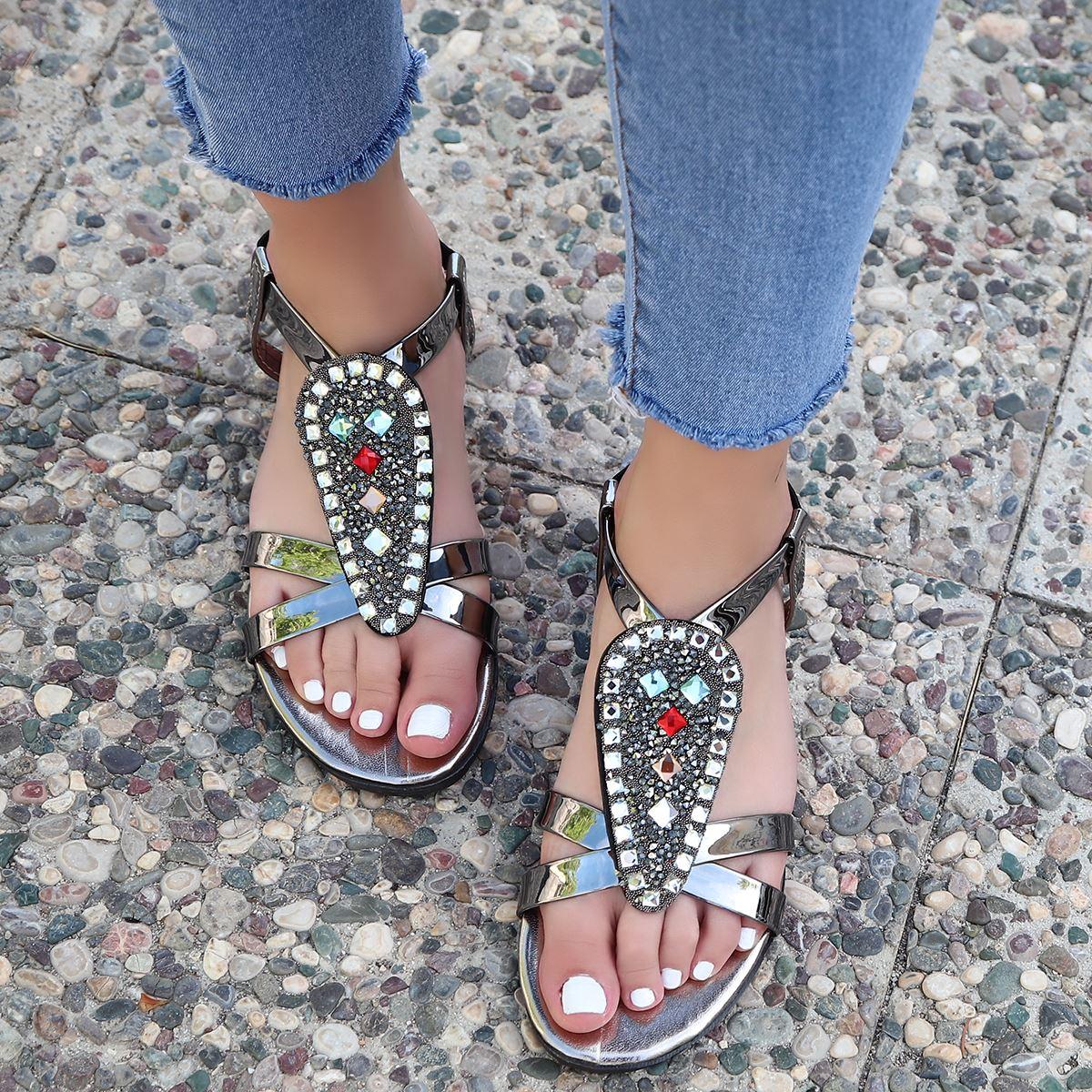Platin Taşlı Sandalet SND152