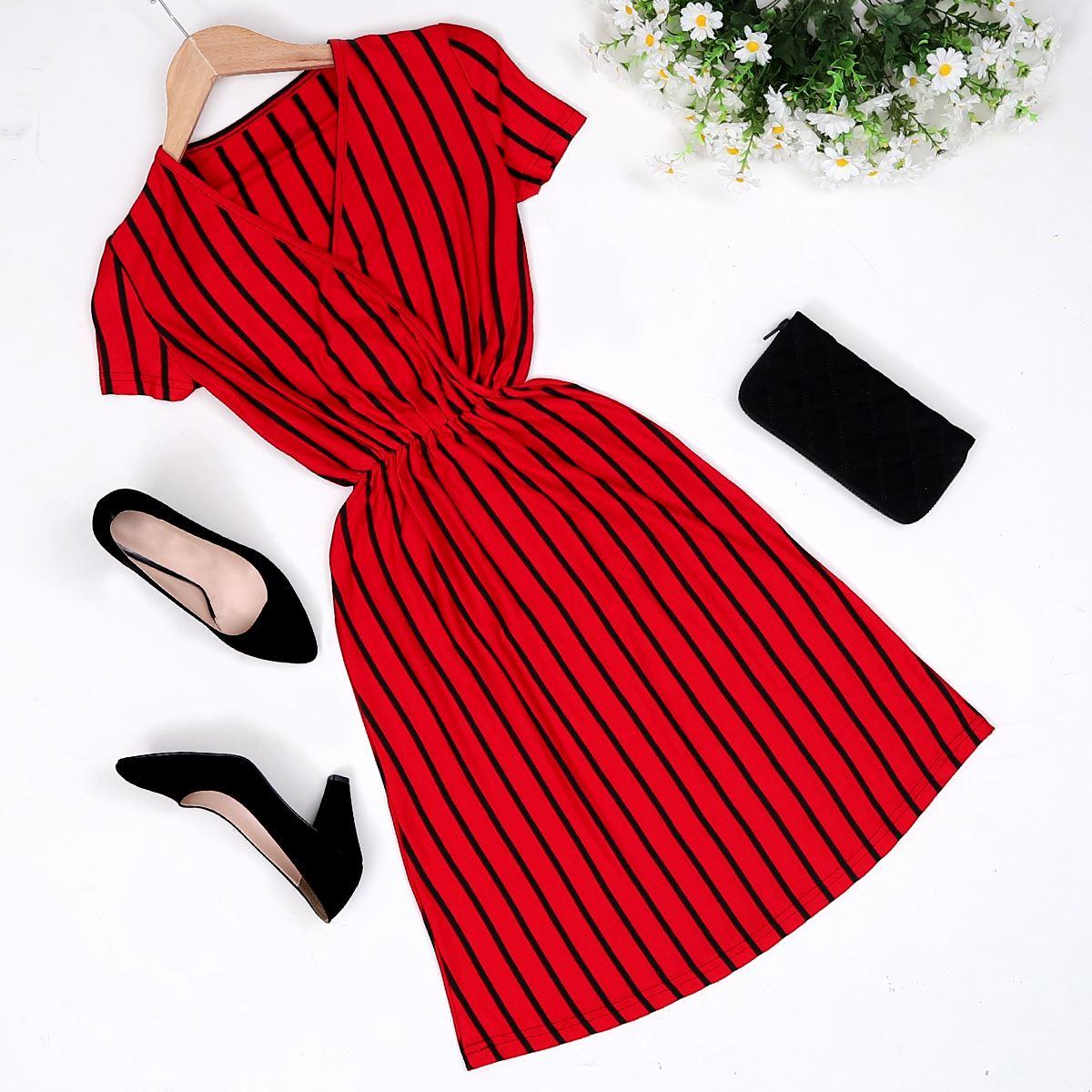 Çizgili Kırmızı Elbise ELB200