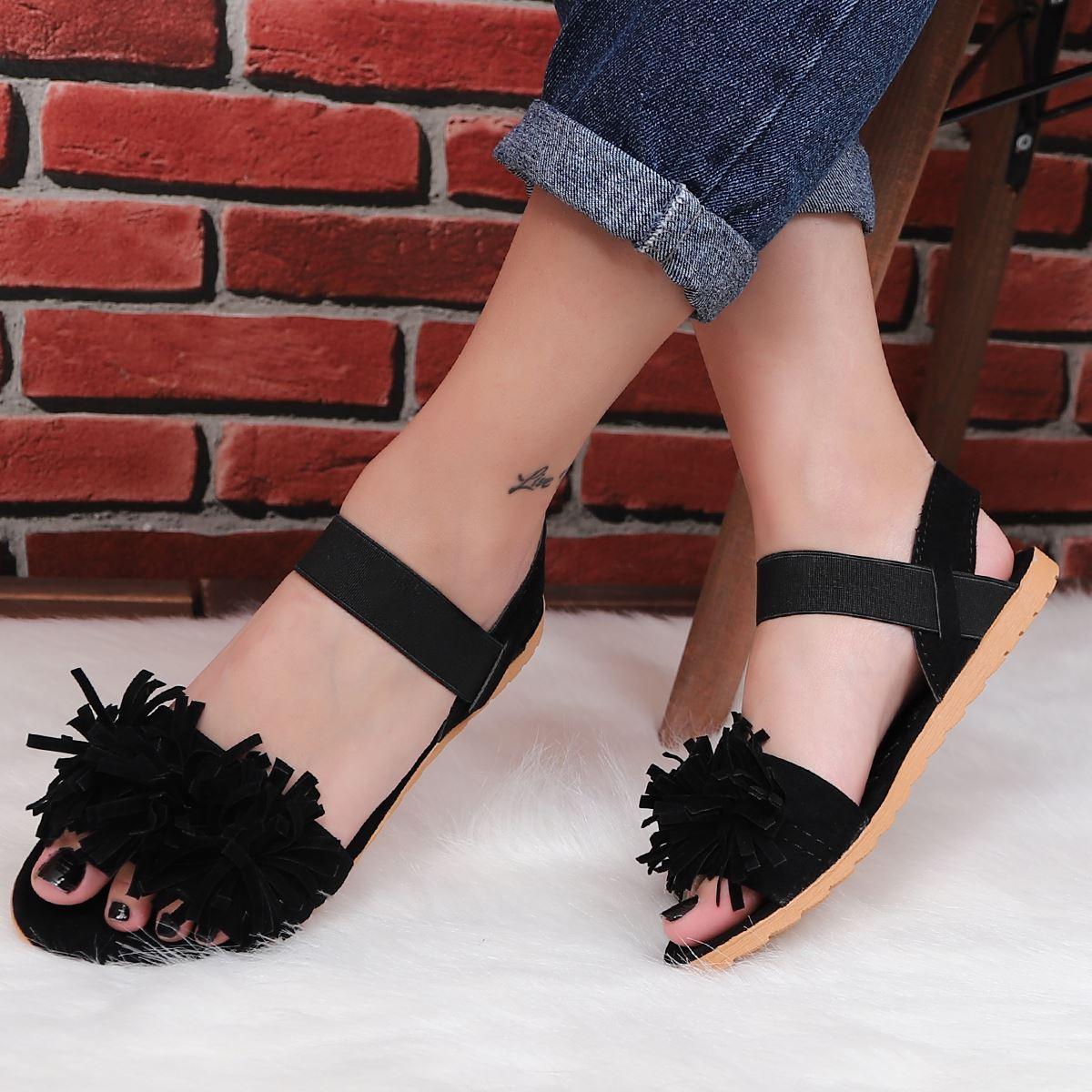 Siyah Püsküllü Sandalet SND050