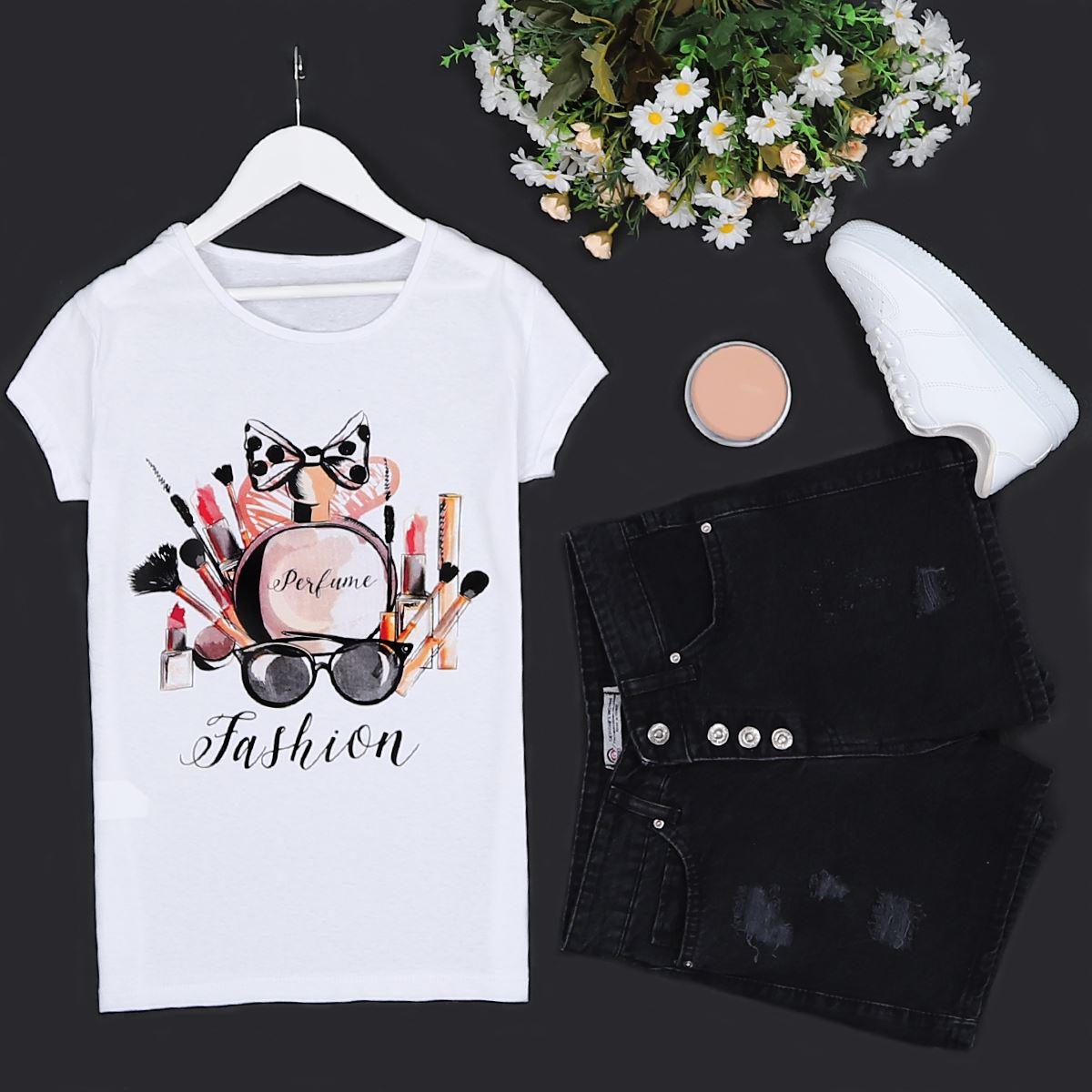 Beyaz Baskılı T-shirt TSH159
