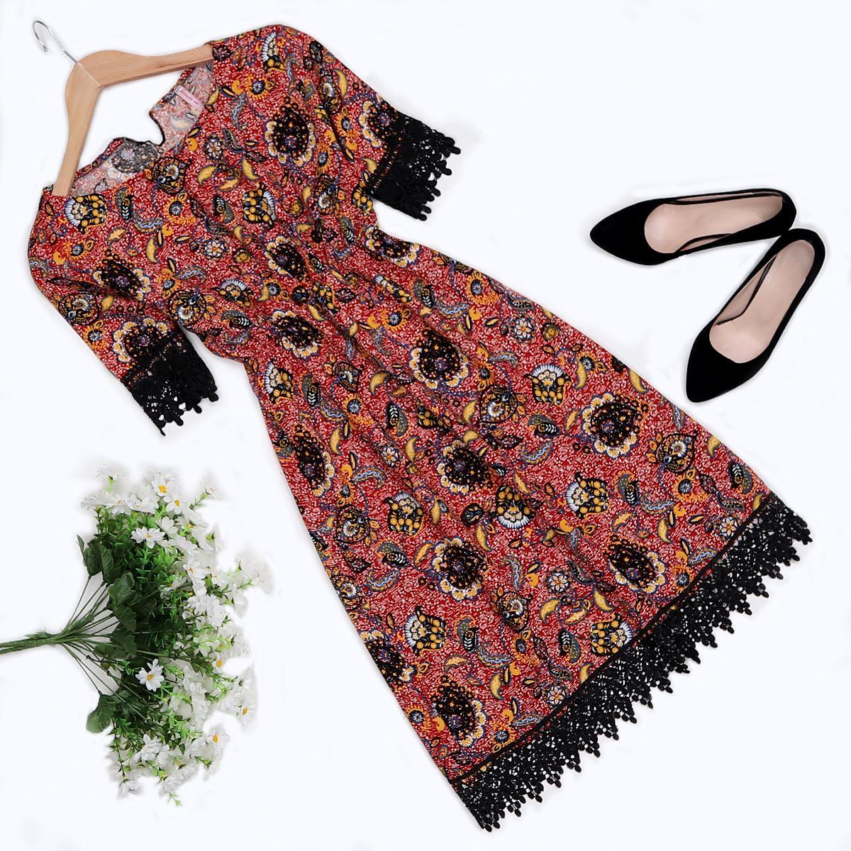 Kırmızı Güpürlü Elbise ELB276
