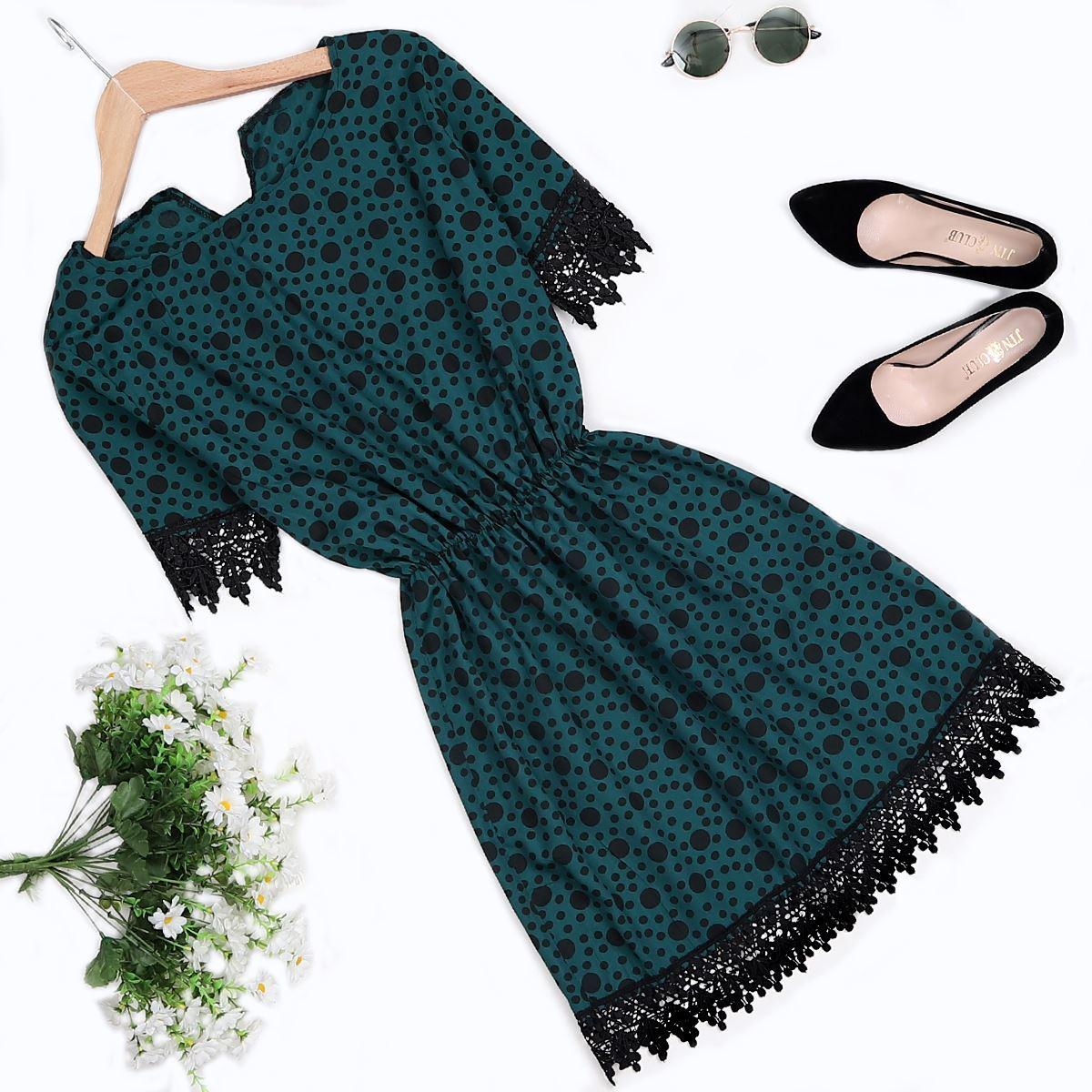 Zümrüt Yeşili Güpürlü Elbise ELB277