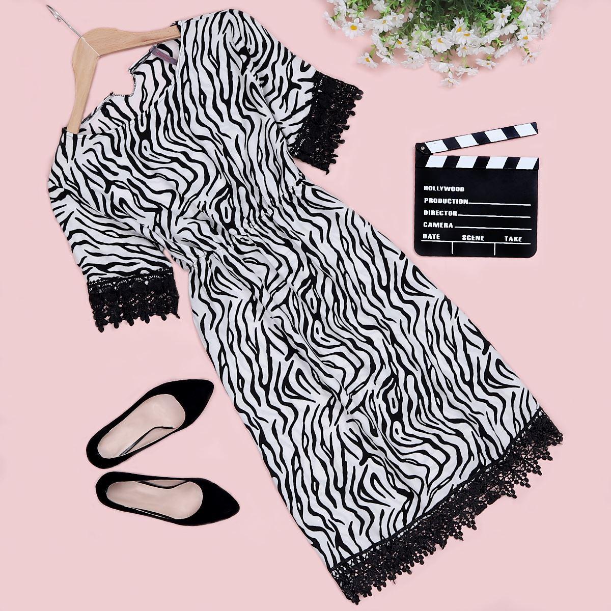 Zebra Desenli Güpürlü Elbise ELB280