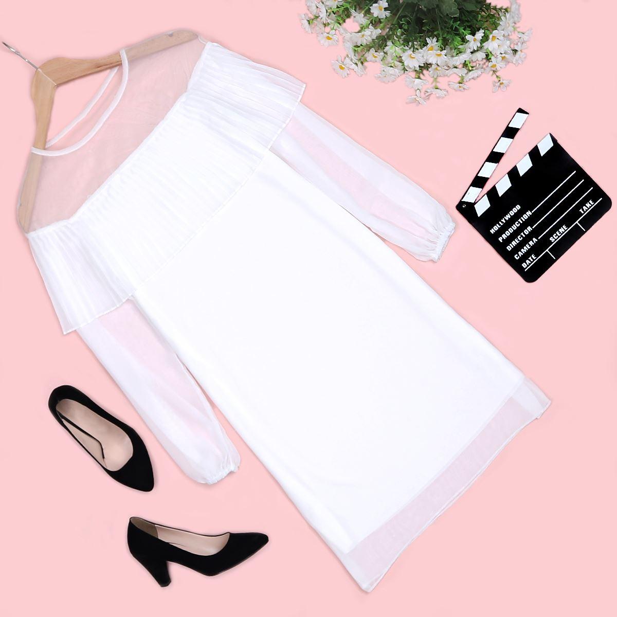 Beyaz Tüllü Elbise ELB282