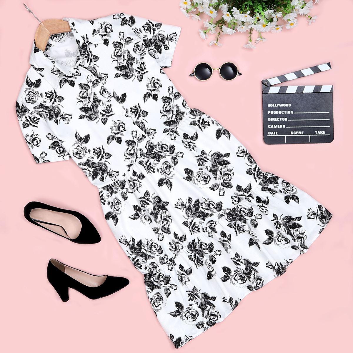 Beyaz Çiçekli Elbise ELB293