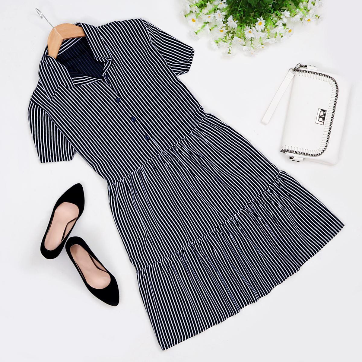 Lacivert Çizgili Elbise ELB295