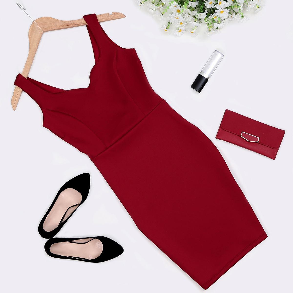 Bordo Elbise ELB305