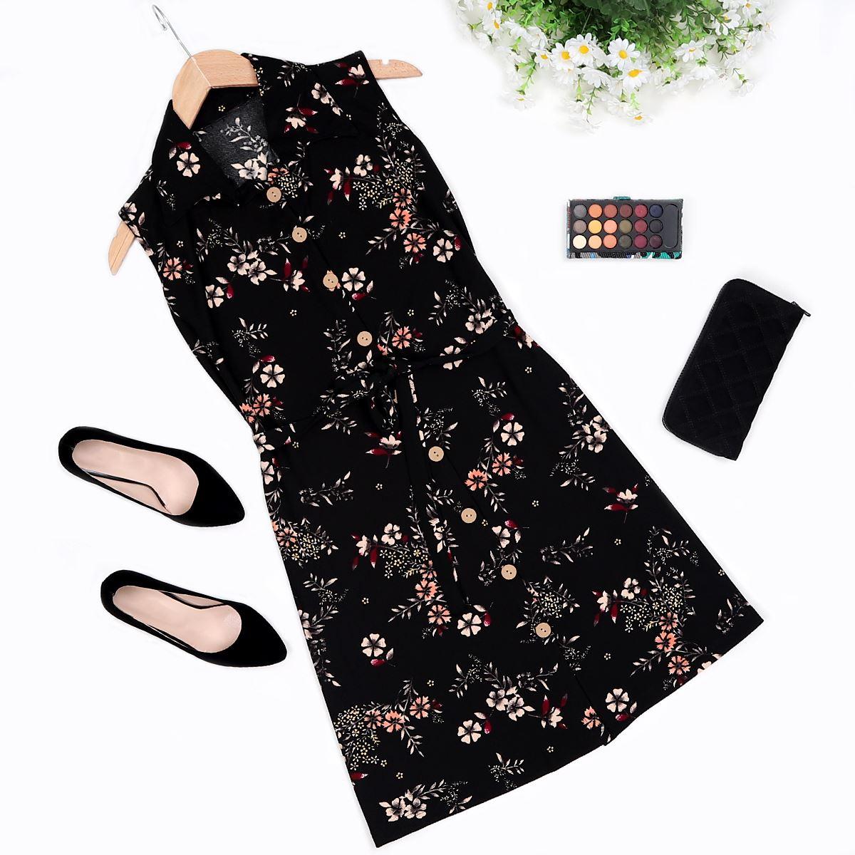 Desenli Düğmeli Elbise ELB313