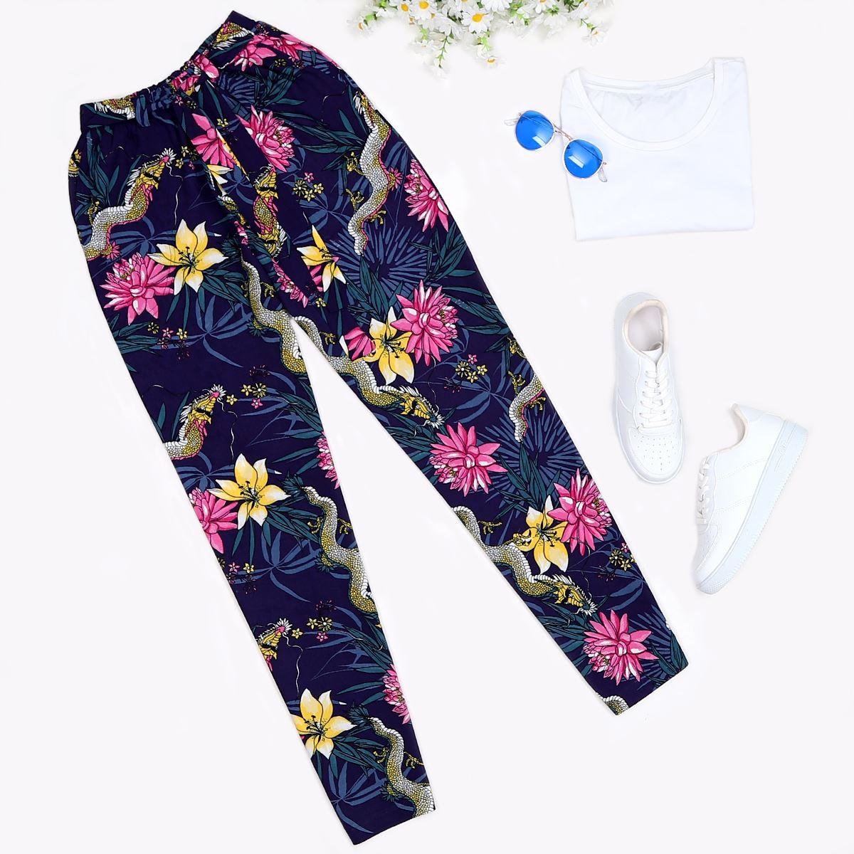 Lacivert Çiçekli Pantolon PNT153
