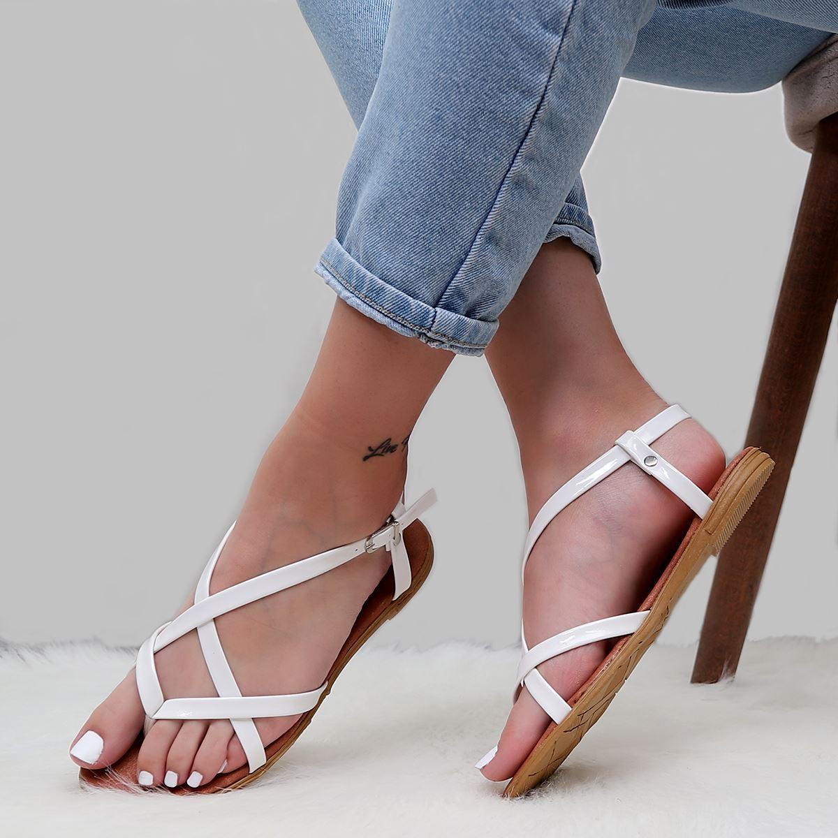 Beyaz Parmak Arası Sandalet SND186
