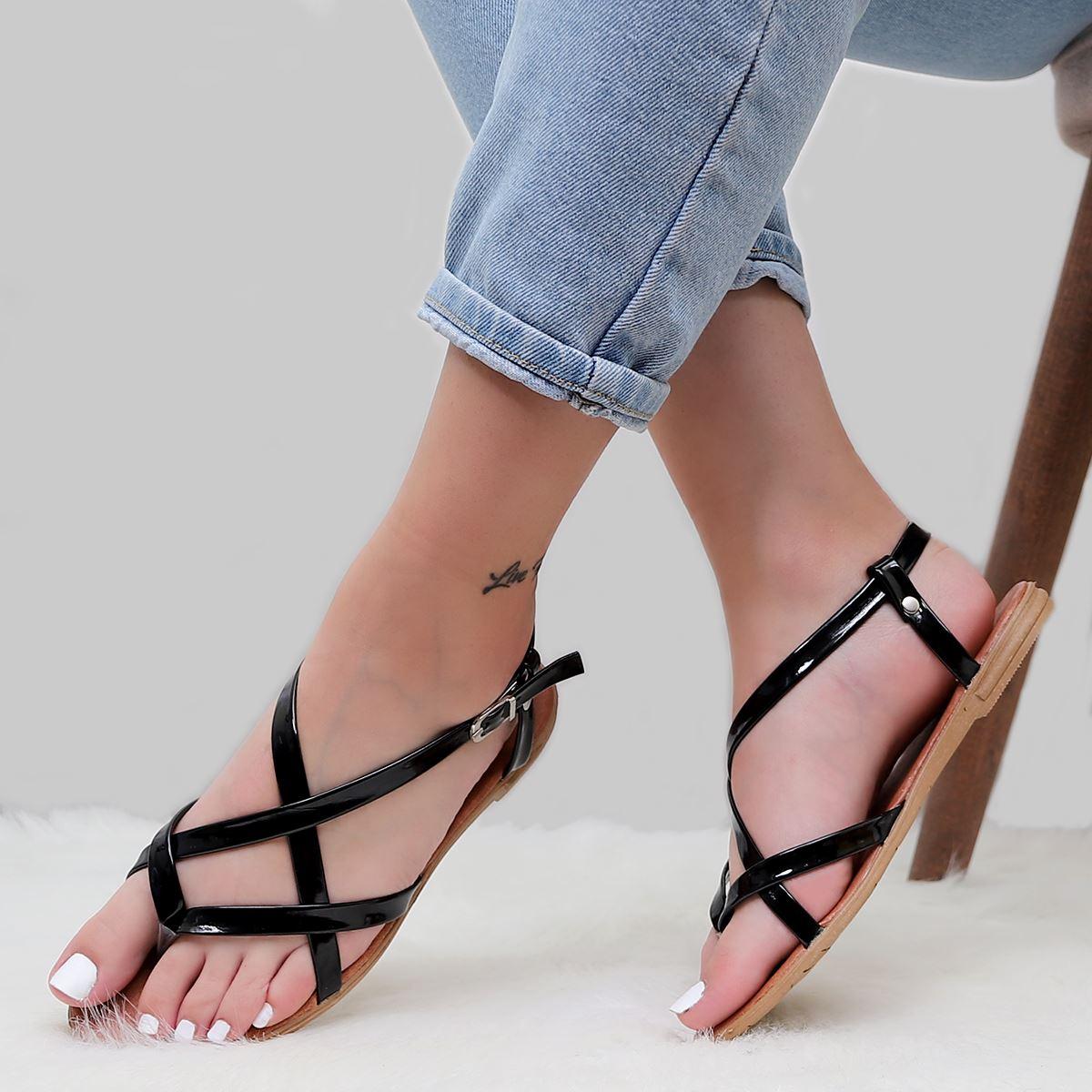 Siyah Parmak Arası Sandalet SND187