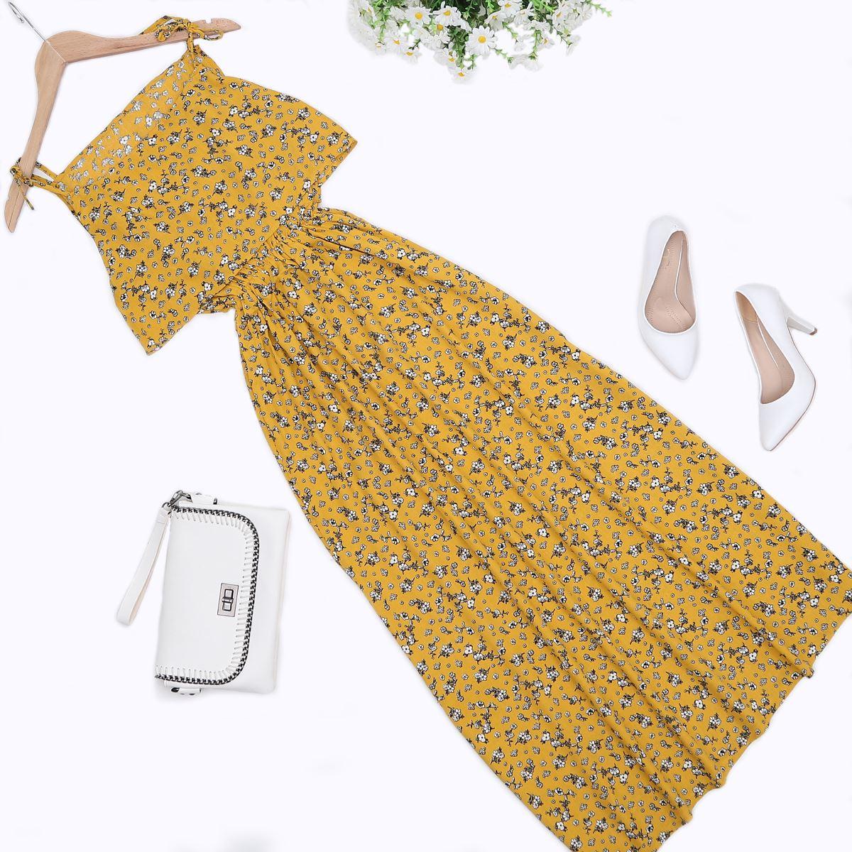 Hardal Çiçek Desenli Elbise ELB325