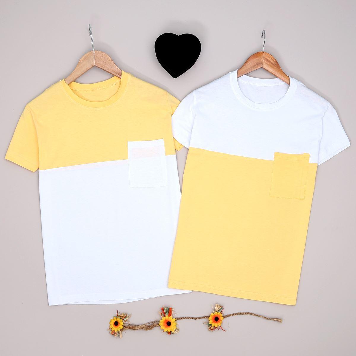 Sarı T-shirt Erkek Sevgili Kombini SVG197