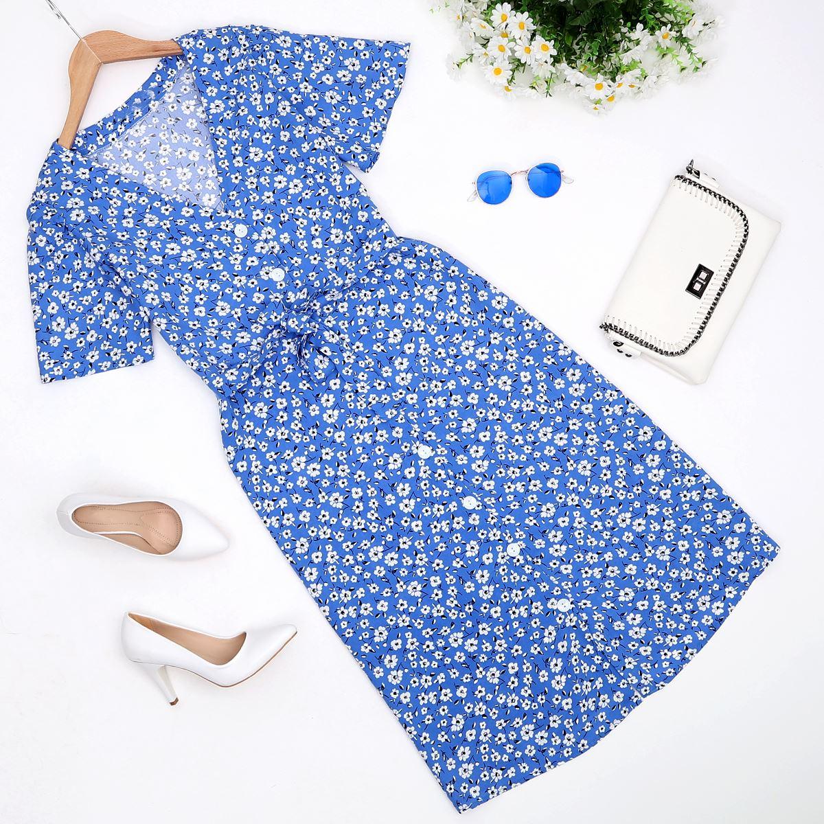 Mavi Düğmeli Çiçekli Elbise ELB339