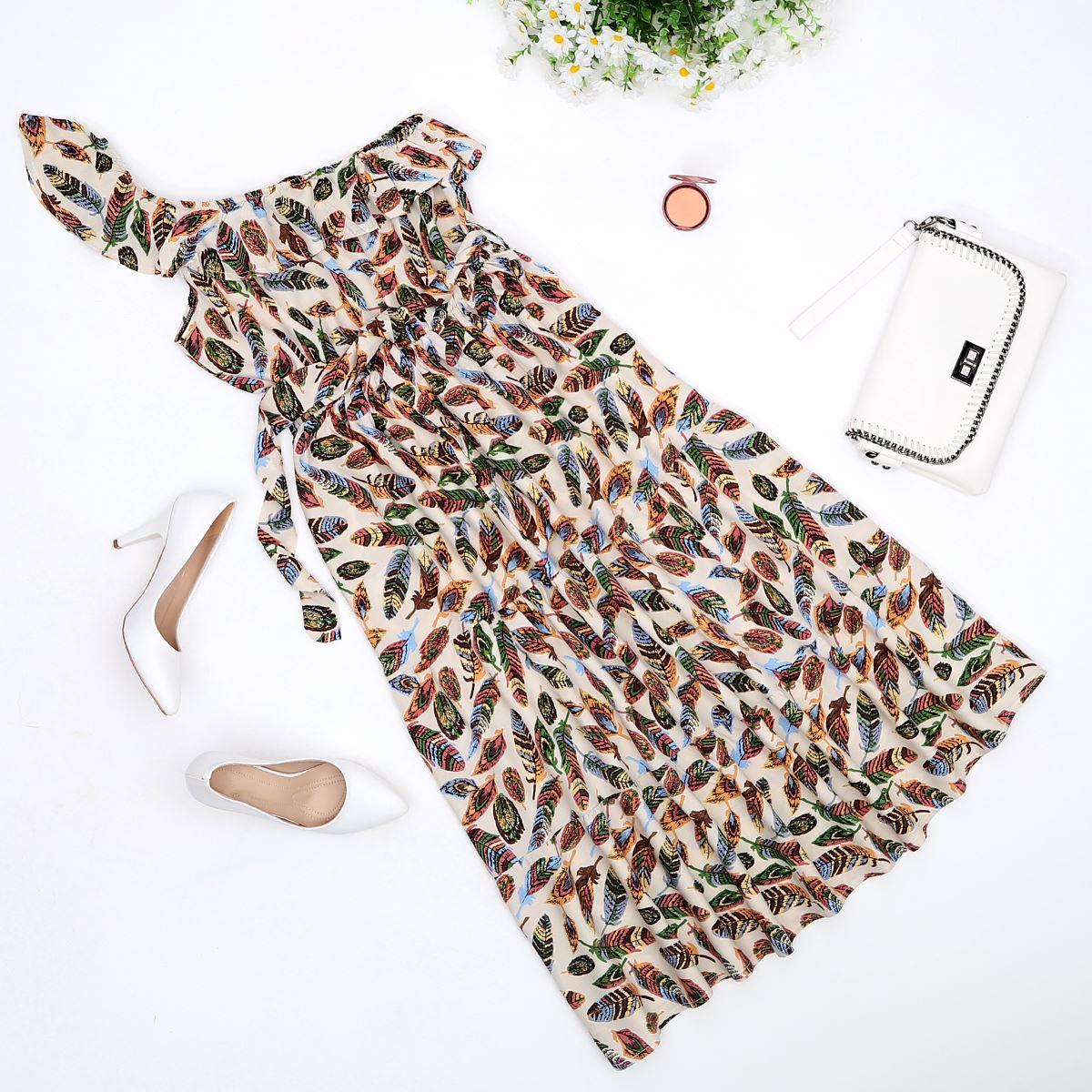 Tek Kol Desenli Elbise ELB341