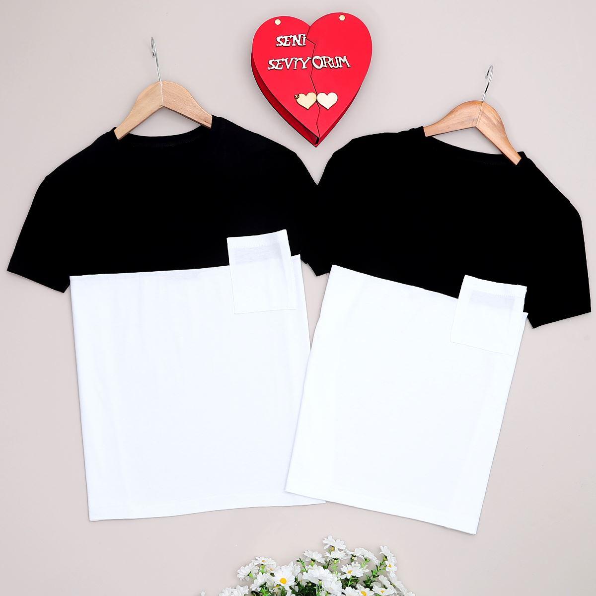 Siyah T-shirt Kadın Sevgili Kombini  SVG202