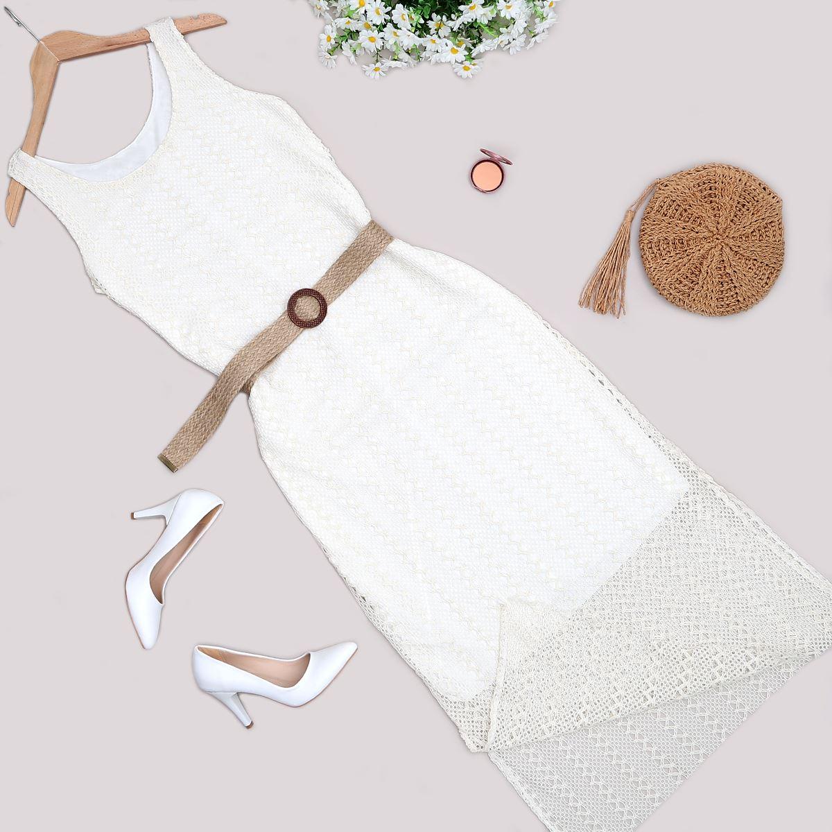 Bej Hasır Kemerli Elbise ELB351