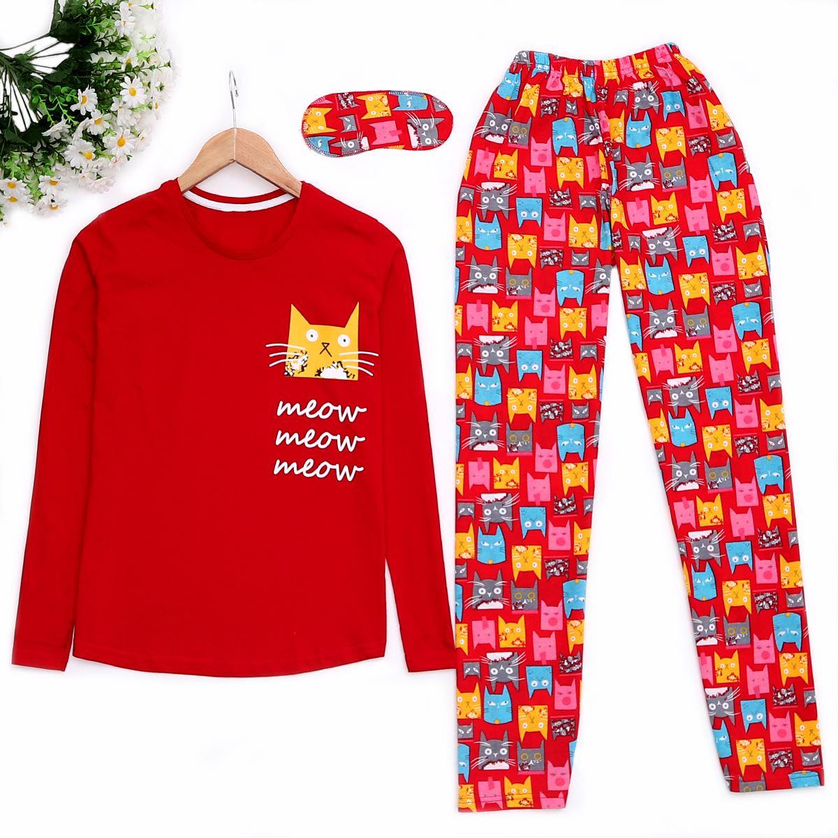 Cat Kırmızı Pijama Takımı Pjm891