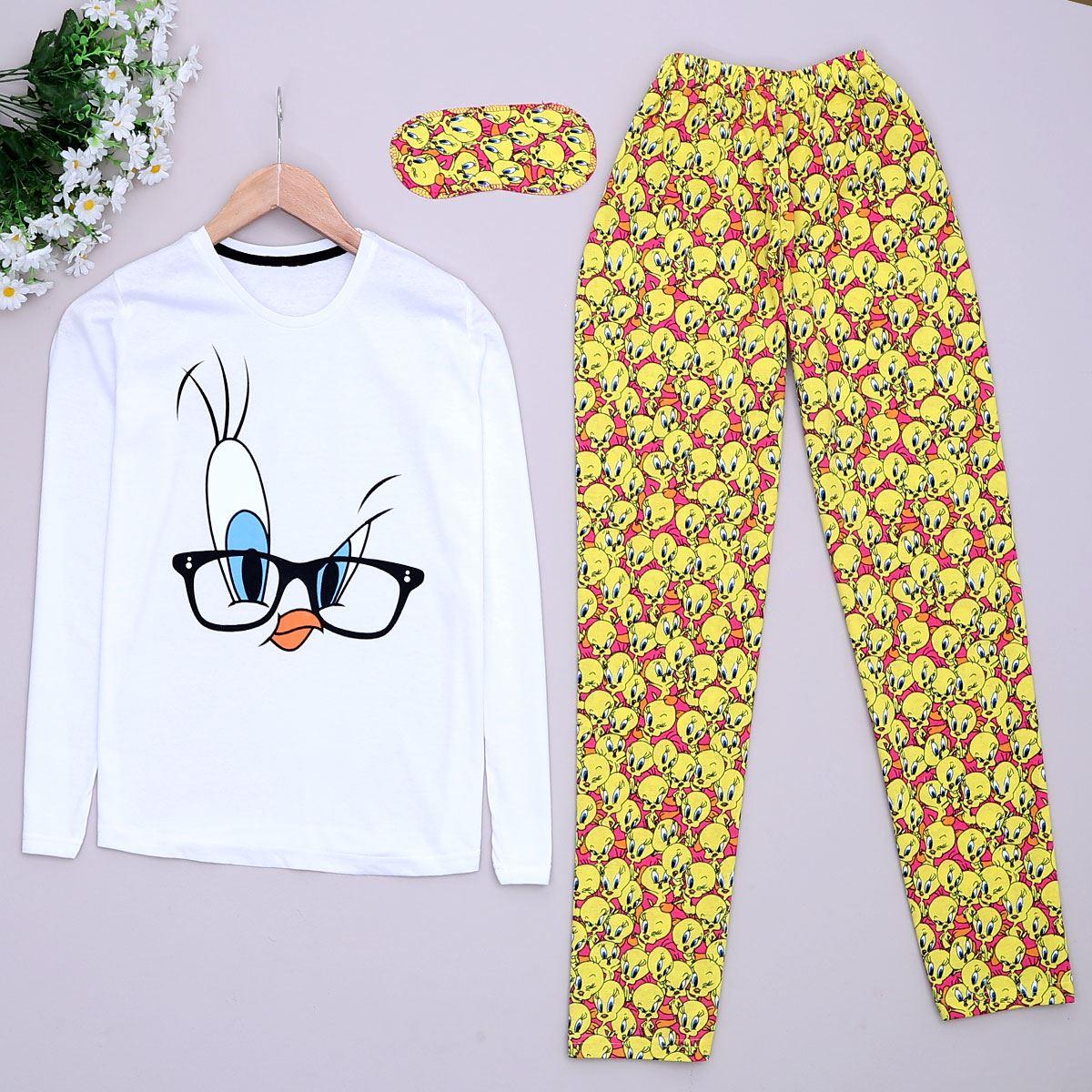 Bird Beyaz Pijama Takımı Pjm898