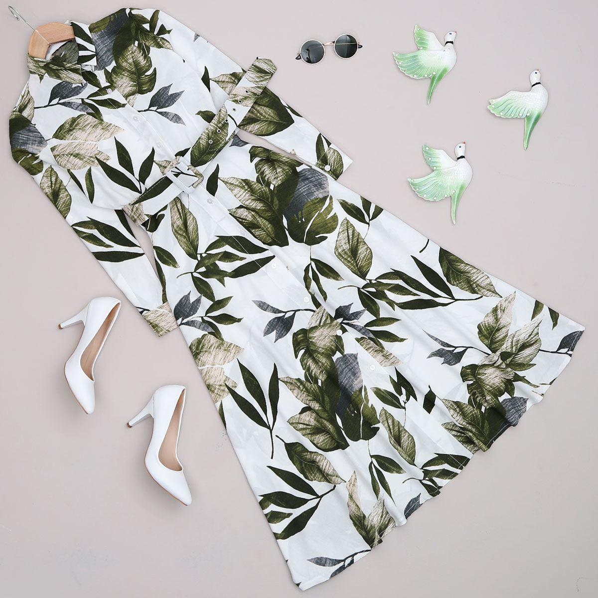 Beyaz Yaprak Desen Uzun Elbise ELB358